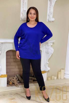 Wholesale Bat Sleeve and Stone Embroidered Women's Sweater